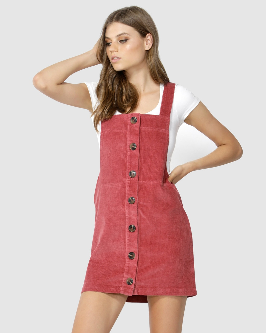 a213f42d285 SASS Candid Cord Pinafore – Berry